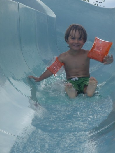 Tory slides alone. Well, him and his water wings.