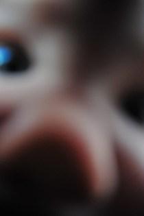 Tegan schmears the camera lens.
