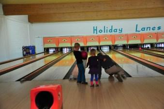 Tai', Aspen, and Brad - bowling a frame.
