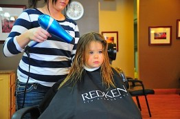 Probably her first blow dry too.