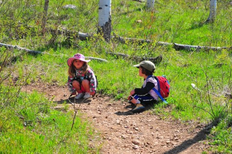 Tegan and Serisa take a break on trail.