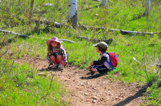 Tegan and Serisa take a break on trail.
