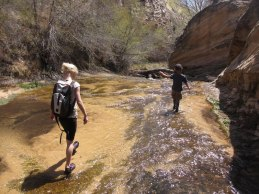 Juliana and Tory cruise Calf Creek.