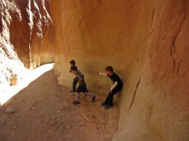 The boys running up Dry Fork