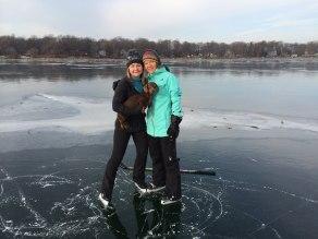 Tracy and Kari on perfect skating ice