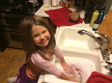 Tegan doing the dishes. Yes!