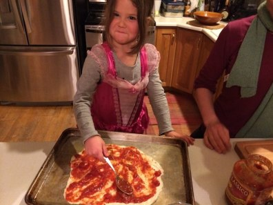 Tegan makes pizza
