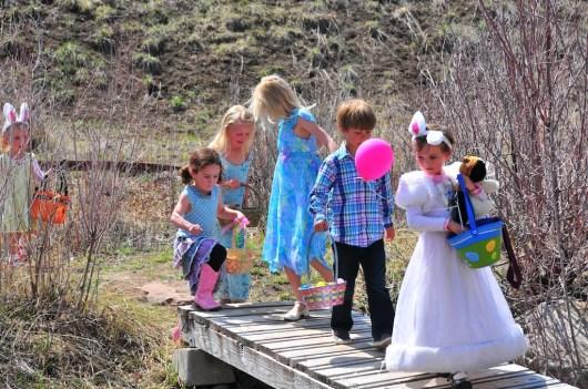 Egg hunting across the bridget