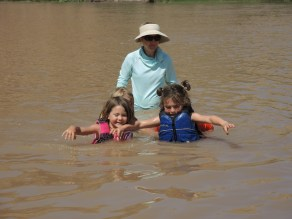 Floating downstream in life jackets
