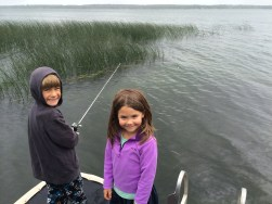 Tory and Tegan fishing off the dock