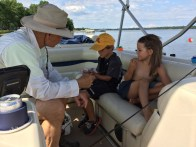 Another boat ride with Grandpa. We ended up getting caught in a huge storm an hour later.