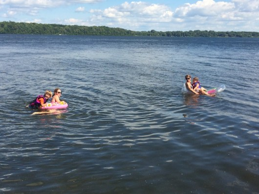 Cruising the lake and hanging out on floaties.