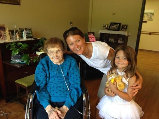 Kari and Tegan visit Grandma Fedie in Mondovi Wisconsin.