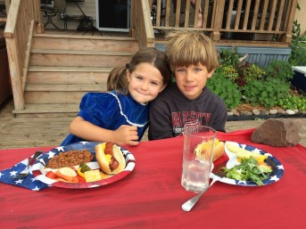 Tory and Tegan enjoying a quality MN 4th of July lunch on the deck.