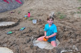 Sophia makes a mud pit