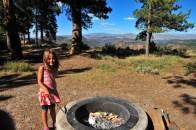 Canyon Rim campground, Tegan tends the non fire.