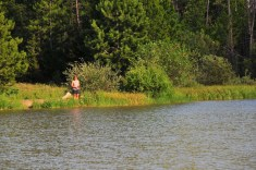 Kari tries fly fishing at Moose Pond