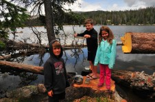 Hiking and 'fishing' with Luke