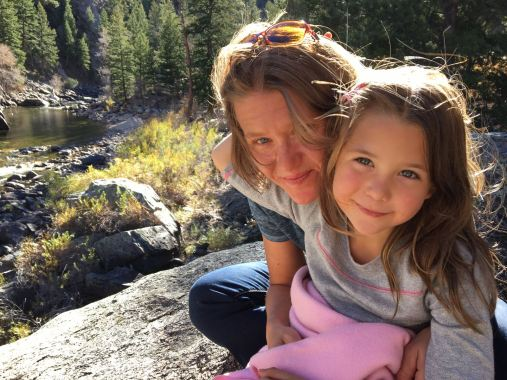 My girls, sitting along the Poudre river