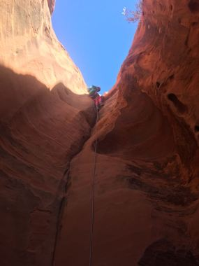 Tegan on first rappel in Morcco