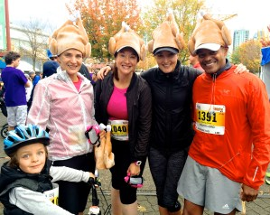 Sisters Jana and Julie Beaumont ran with their families this year — and with holiday-themed headgear. Unfortunately the turkey hat wouldn't fit over the bike helmet.