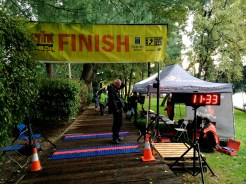 Runners were given their official times at the finish line, and treated to a full buffet meal and healthy snacks in a nearby tent. Here, the official race clock clicks down as volunteers wait for the runners to arrive.