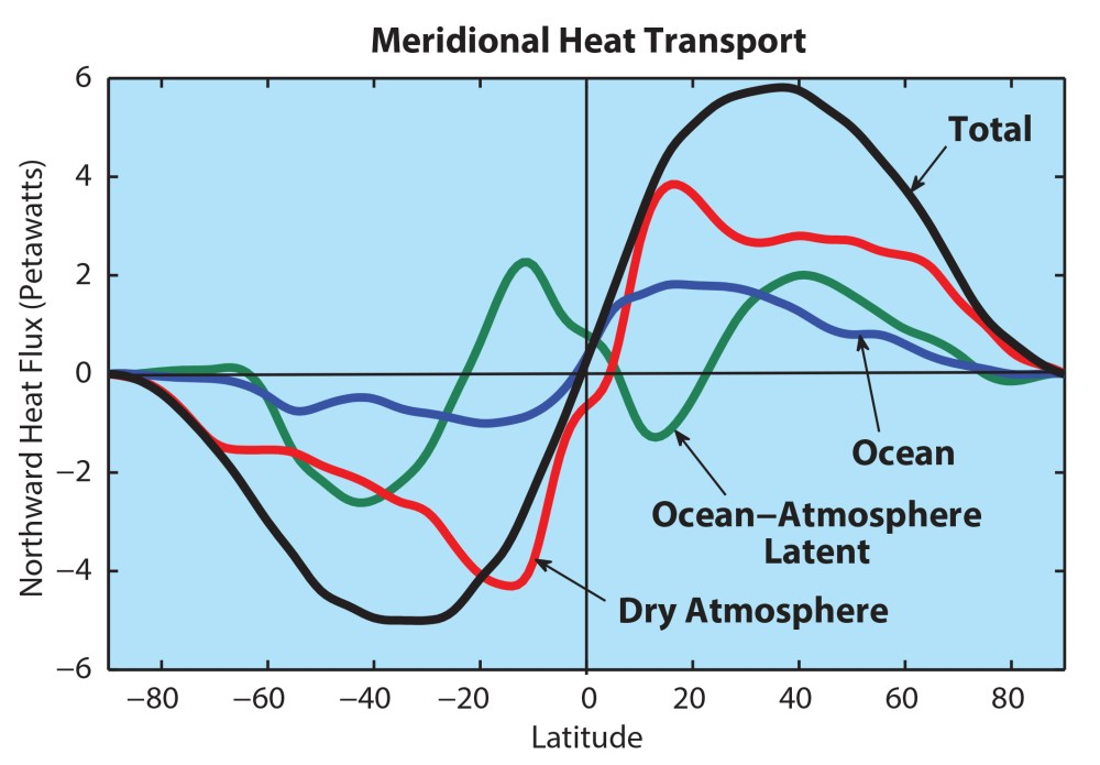 medium resolution of figure 3 the northward transport of heat as a function of latitude and its major components the total heat flux is in black