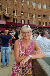After the Palio rehearsal waiting for our bar to set up tables so we can have a drink