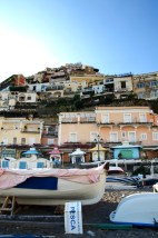 Fishing boats with Positano behind