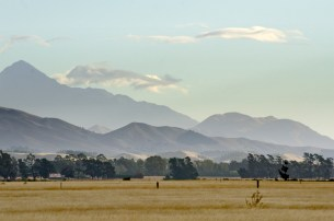 The distant hills of Marlborough on the drive south