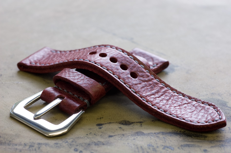 Crimson leather watch strap with denim stitching - handmade by Toshi Straps