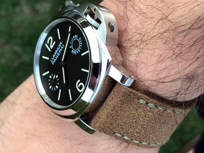 Panerai 590 on Tribe leather with olive drab stitching. © Nick Scarpetis