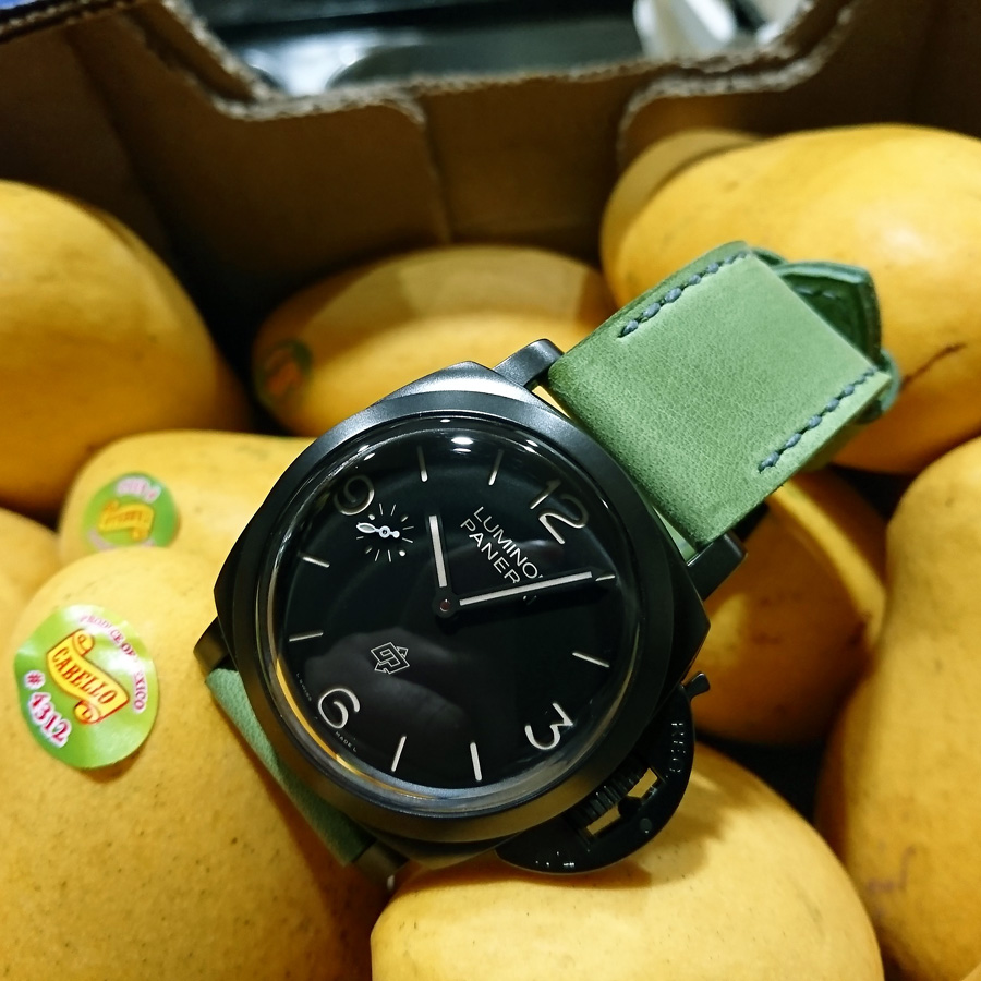 Panerai 617 on Lime leather with grey stitching. © Gregory Namin
