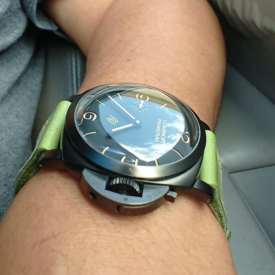 Panerai 617 on Lime leather with butterscotch stitching. © Greg Namin