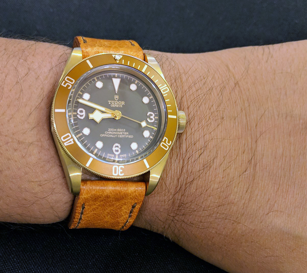 Tudor Black Bay Bronze on Vintage Stag leather with light brown stitching. © Tariq Al Raisi
