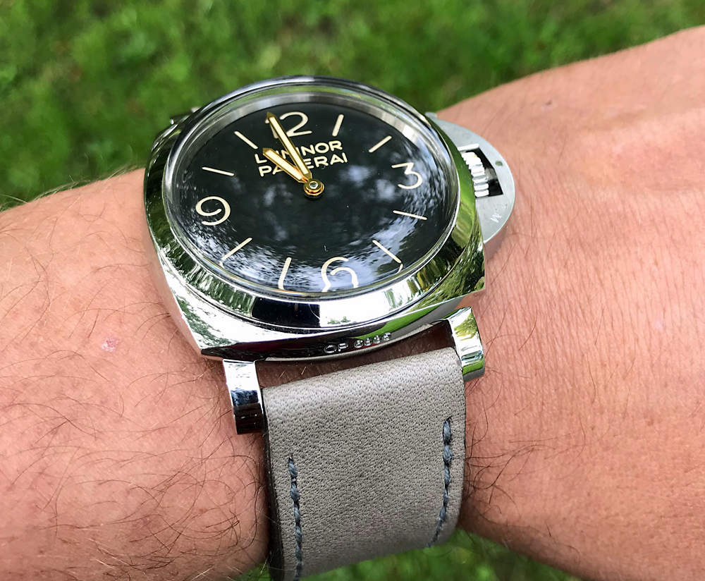 Panerai 372 on Military Grey leather with grey stitching. © Koen Veenendaal