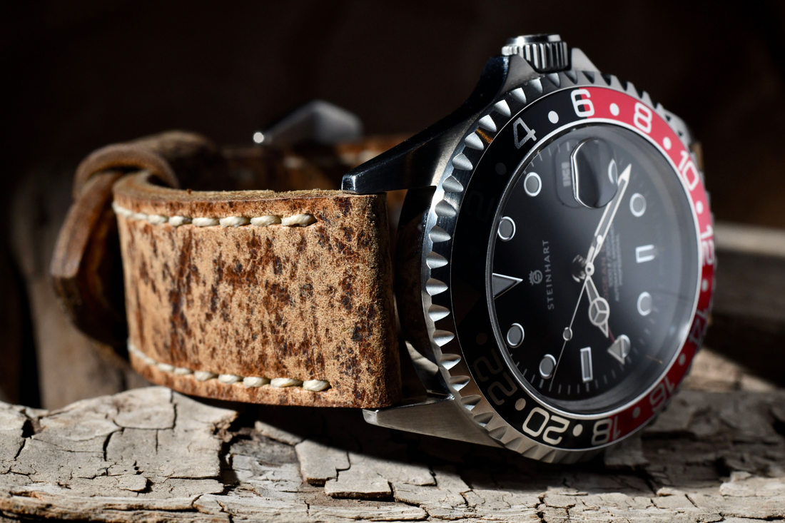 Steinhart Ocean Forty Four GMT on Dark Kudu leather with natural stitching. © Terrence Currey