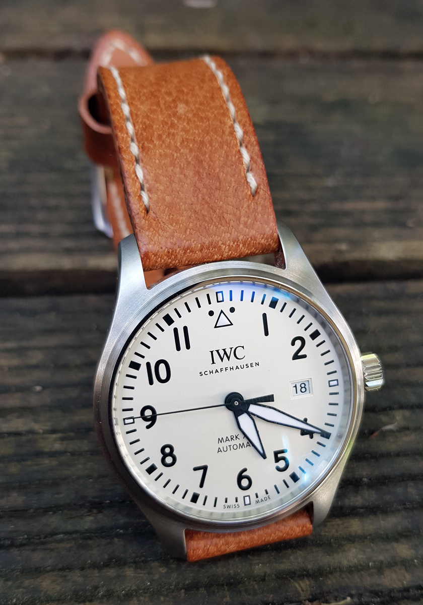 IWC Mark XVIII on Vintage Stag leather with natural stitching. © Marcus Brown
