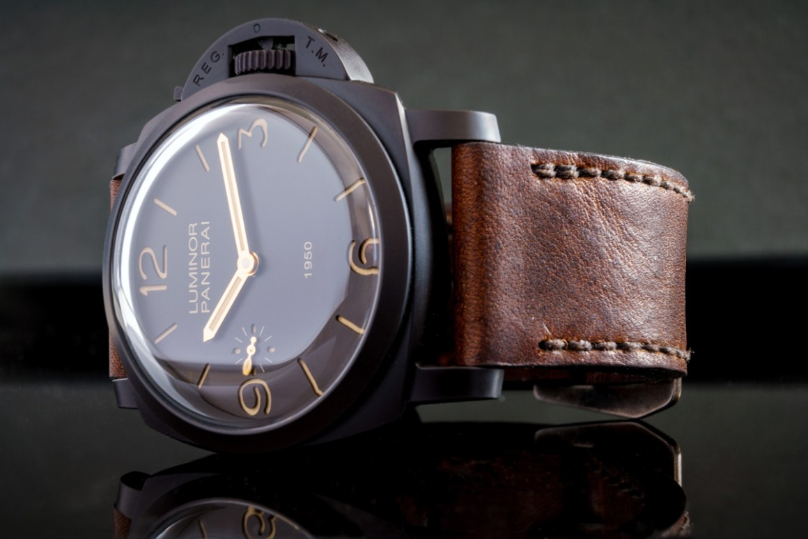 Panerai 375 on Horween Nut Brown leather with dark brown stitching. © Martin Tyler