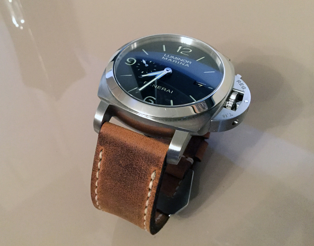 Panerai 312 on Old Timer leather with natural stitching. © Terry Wright