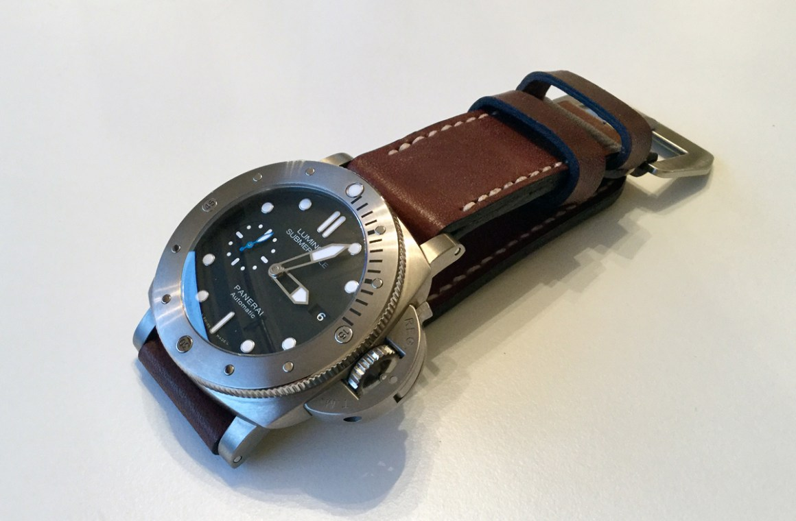 Panerai 1305 on Espresso leather with natural stitching. © Terry Wright