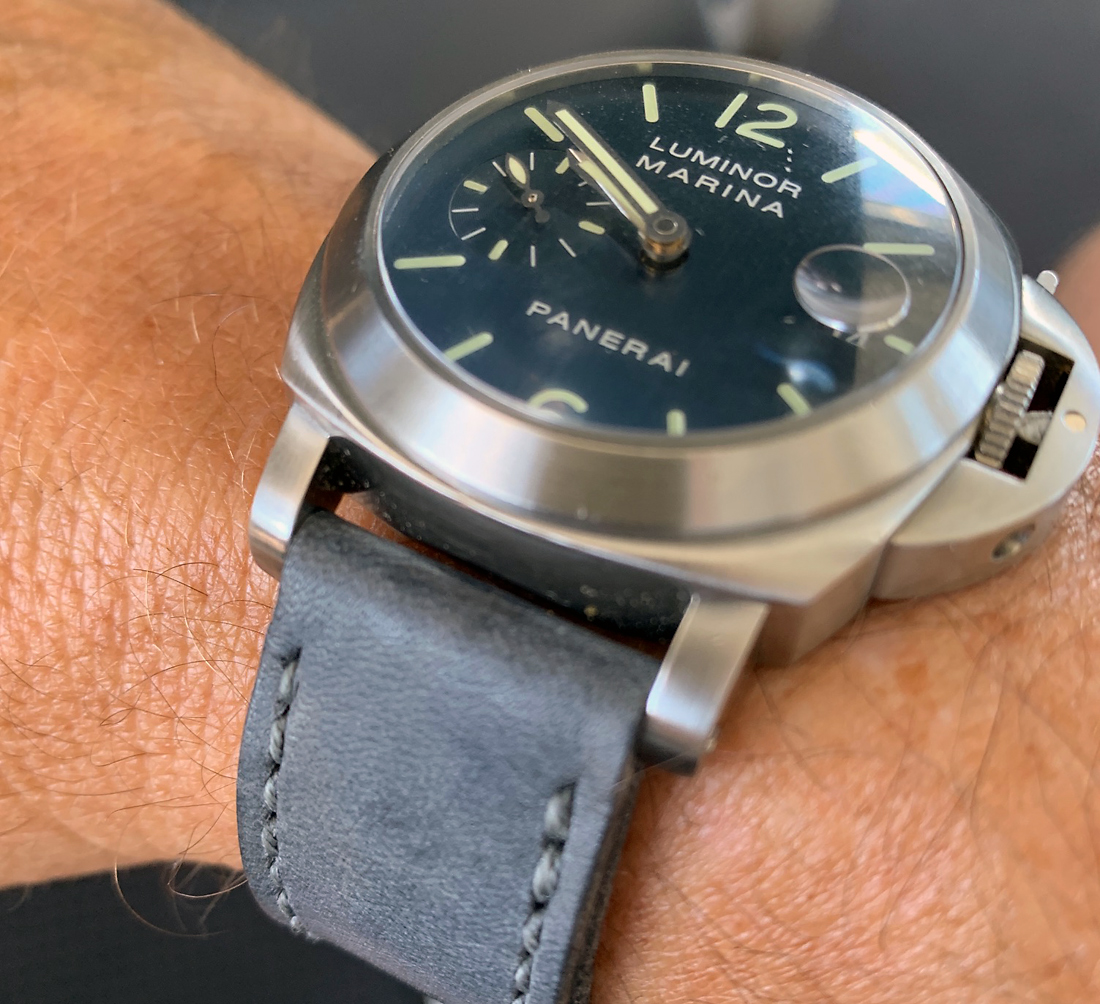 Panerai 70 on Petrol leather with grey stitching. © Peter Nicholson