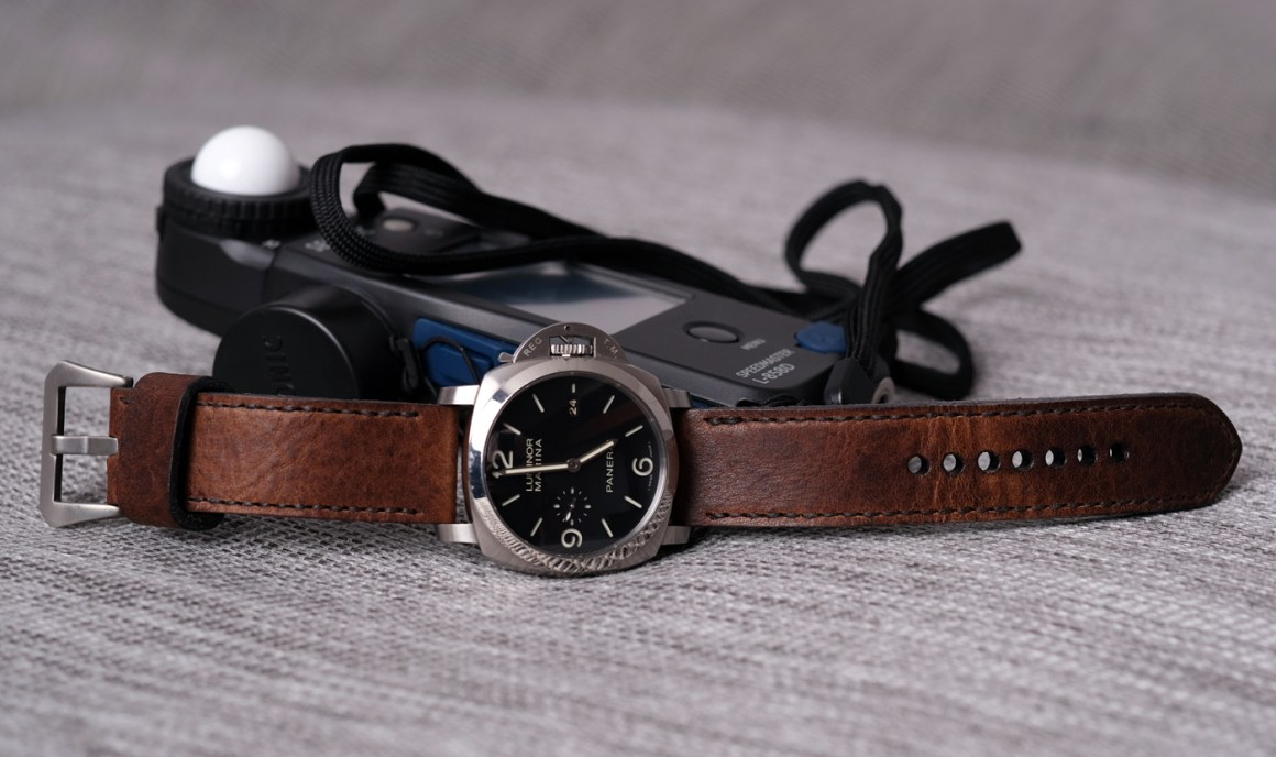 Panerai 312 on Horween Nut Brown leather with dark brown stitching. © Richard Phillips