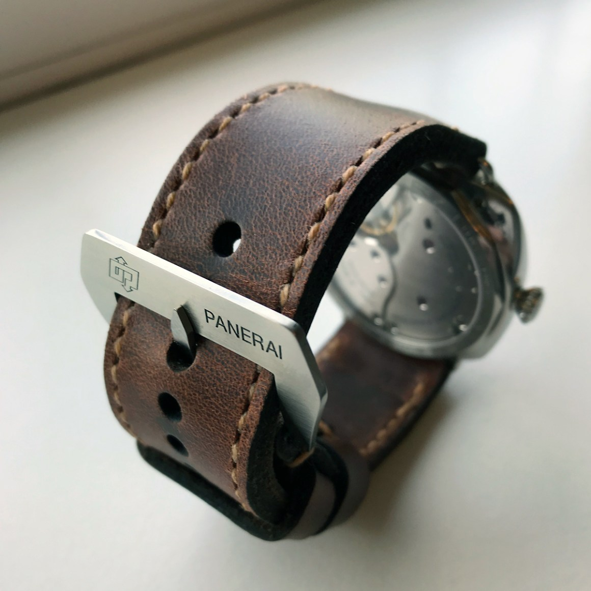 Panerai 424 on Phantom leather with butterscotch stitching. © Terry Wright
