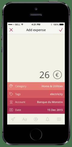 iOS app add expense
