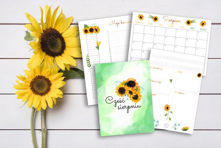 Słonecznikowe wklejki do bullet journal na sierpień