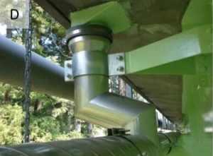 高気密ステンレス排水管と鋳物排水桝間に溢水防止パッキン(RDジョイント)で接続した例