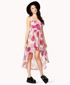 High-Low Rose Print Dress $20.99