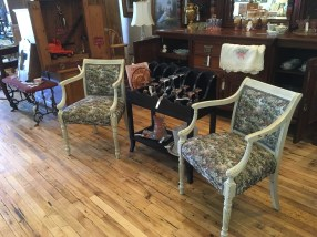 Beautifully rescued chairs with new upholstery.