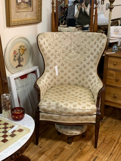 Vintage Fan Back Upholstered Chair and Stool